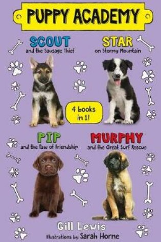 Cover of Puppy Academy Bindup Books 1-4: Scout and the Sausage Thief, Star on Stormy Mountain, Pip and the Paw of Friendship, Murphy and the Great Surf Rescue
